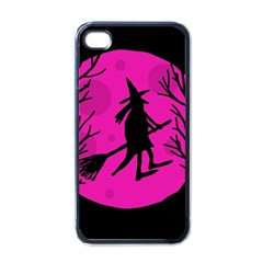 Halloween witch - pink moon Apple iPhone 4 Case (Black)