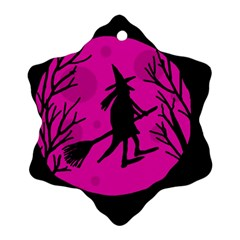 Halloween witch - pink moon Ornament (Snowflake)
