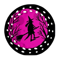 Halloween witch - pink moon Round Filigree Ornament (2Side)