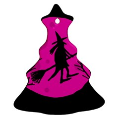 Halloween witch - pink moon Christmas Tree Ornament (2 Sides)