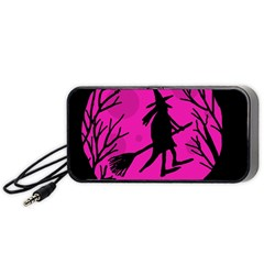 Halloween witch - pink moon Portable Speaker (Black)