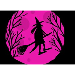 Halloween witch - pink moon Birthday Cake 3D Greeting Card (7x5)