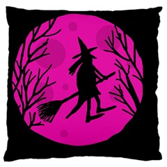 Halloween witch - pink moon Large Cushion Case (Two Sides)