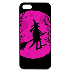 Halloween witch - pink moon Apple iPhone 5 Seamless Case (Black)