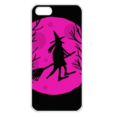 Halloween witch - pink moon Apple iPhone 5 Seamless Case (White)