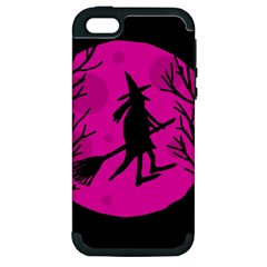 Halloween witch - pink moon Apple iPhone 5 Hardshell Case (PC+Silicone)