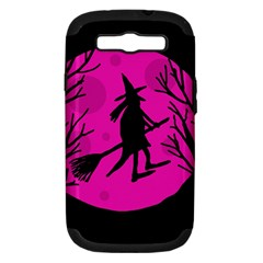 Halloween witch - pink moon Samsung Galaxy S III Hardshell Case (PC+Silicone)