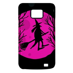 Halloween witch - pink moon Samsung Galaxy S II i9100 Hardshell Case (PC+Silicone)