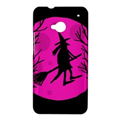 Halloween witch - pink moon HTC One M7 Hardshell Case