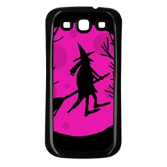 Halloween witch - pink moon Samsung Galaxy S3 Back Case (Black)