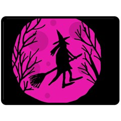 Halloween witch - pink moon Double Sided Fleece Blanket (Large)