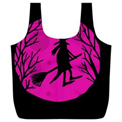 Halloween witch - pink moon Full Print Recycle Bags (L)