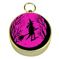 Halloween witch - pink moon Gold Compasses