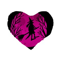 Halloween witch - pink moon Standard 16  Premium Flano Heart Shape Cushions