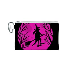 Halloween witch - pink moon Canvas Cosmetic Bag (S)