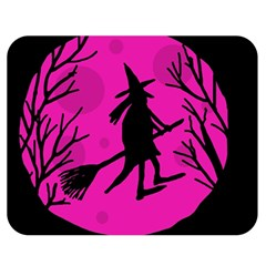 Halloween witch - pink moon Double Sided Flano Blanket (Medium)