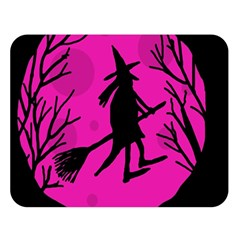 Halloween witch - pink moon Double Sided Flano Blanket (Large)