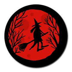 Halloween witch - red moon Round Mousepads