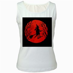 Halloween witch - red moon Women s White Tank Top