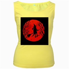 Halloween witch - red moon Women s Yellow Tank Top