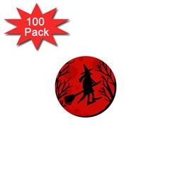 Halloween witch - red moon 1  Mini Buttons (100 pack)