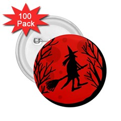 Halloween witch - red moon 2.25  Buttons (100 pack)
