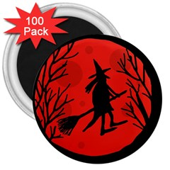Halloween witch - red moon 3  Magnets (100 pack)