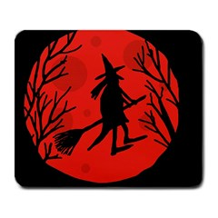 Halloween witch - red moon Large Mousepads