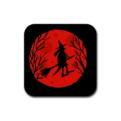 Halloween witch - red moon Rubber Square Coaster (4 pack)