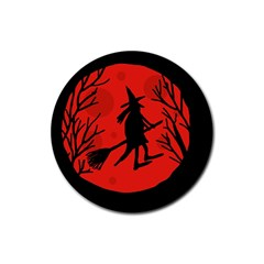 Halloween witch - red moon Rubber Coaster (Round)