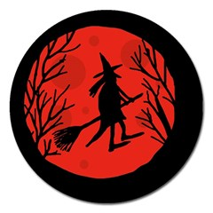 Halloween witch - red moon Magnet 5  (Round)