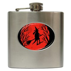 Halloween witch - red moon Hip Flask (6 oz)