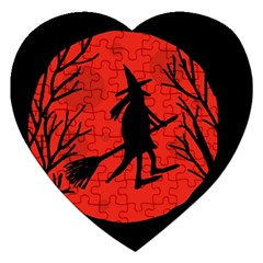 Halloween witch - red moon Jigsaw Puzzle (Heart)