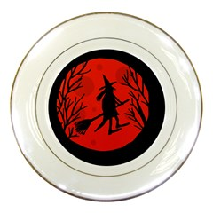 Halloween witch - red moon Porcelain Plates