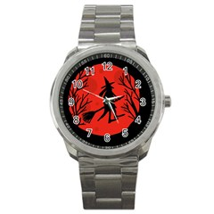 Halloween witch - red moon Sport Metal Watch