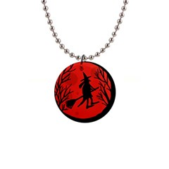 Halloween witch - red moon Button Necklaces