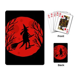 Halloween witch - red moon Playing Card