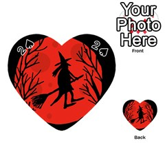 Halloween witch - red moon Playing Cards 54 (Heart)