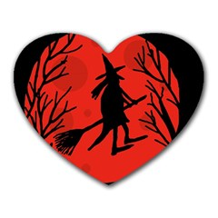 Halloween witch - red moon Heart Mousepads