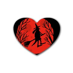 Halloween witch - red moon Heart Coaster (4 pack)
