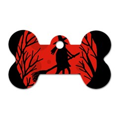 Halloween witch - red moon Dog Tag Bone (Two Sides)