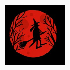 Halloween witch - red moon Medium Glasses Cloth