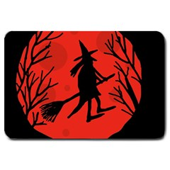 Halloween witch - red moon Large Doormat