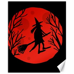 Halloween witch - red moon Canvas 11  x 14