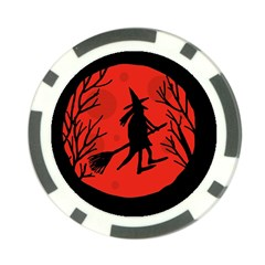 Halloween witch - red moon Poker Chip Card Guards