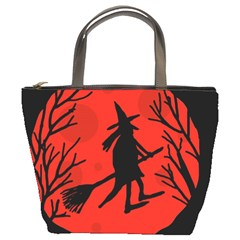 Halloween witch - red moon Bucket Bags