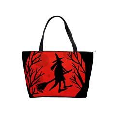 Halloween witch - red moon Shoulder Handbags