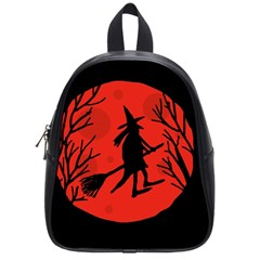 Halloween witch - red moon School Bags (Small)