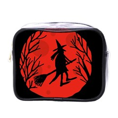 Halloween witch - red moon Mini Toiletries Bags