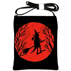 Halloween witch - red moon Shoulder Sling Bags